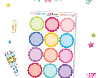 Big Scallop Stickers, Round Scallop Planner Stickers, perfect for Erin Condren Planner and other Planners