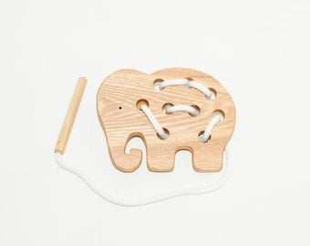 Wooden lacing elephant toy, Educational toy, Montessori toys, Organic toy, Toddler activity, Natural eco friendly, Learning sewing toys