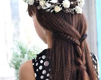 flower hair vine flower hair garland hair vine wedding crown bridal hair crown bridal floral vine white flower garland hair wedding headband