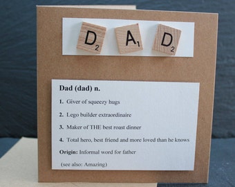 Fathers day card.  Card for Dad. Meaning of the word DAD.  by Dotty Rainbow.  Personalise your card so it describes your dad / step-dad