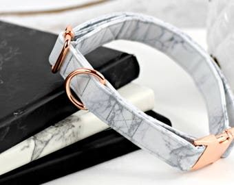 Dog Collar - Fabric Dog Collar - White/Gray Marble Print - Kona Cotton - Rose Gold Metal Hardware