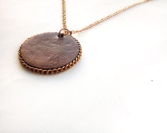 Women's brown circle leather pendant necklace with chain, Women's leather jewelry, Handmade leather necklaces