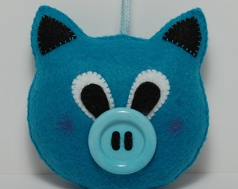 Handmade Blue Small Felt Pig Stuffed Animal, Pocket stuffed toy, cute gift