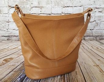 Mini Bucket Bag - Tan Faux Leather