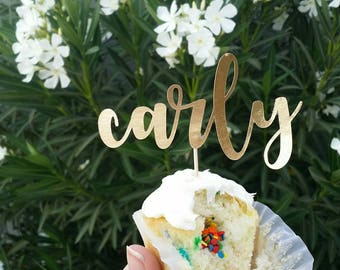 One Word Custom Dainty Gold Cake/Cupcake Topper / Name, Number, Word