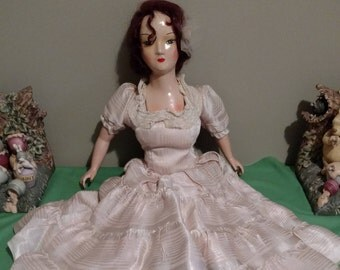 "Antique 25"" Composition Boudoir Bed Doll, Original Dress"
