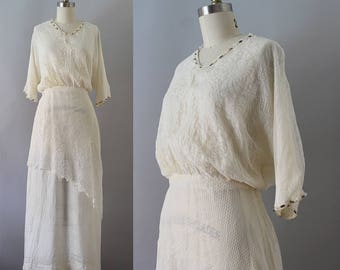 Edwardian Gown / Antique 1910s Lace Dress / XS