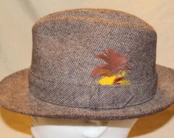 Vintage Stetson Tweed Men's Dress Hat Fedora 7 Feather Hatband Men's Hat Classic Style