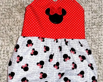 Classic Minnie Mouse Romper, Black and Red Minnie Romper, Baby Girls Romper, Disney Romper, Little Girls Romper, Red and Black Minnie Mouse