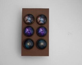 Stud Earrings Set, Nebula Post Earrings, Set of 3 Pairs Space Earrings Solar System Earring Studs Universe Post Earrings Constellation Studs