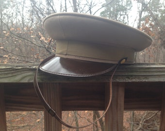 Vintage 1990's Italian Military Peaked Hat / Beige / 58 1/2 cm
