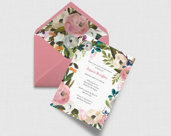 "Pink Watercolor Floral 5"" x 7"" Bridal Shower Invitation - Digital or Printed"