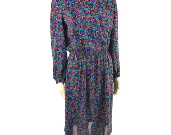 Vintage Black, Purple and Blue Floral Leaf Print Long Sleeve Dress