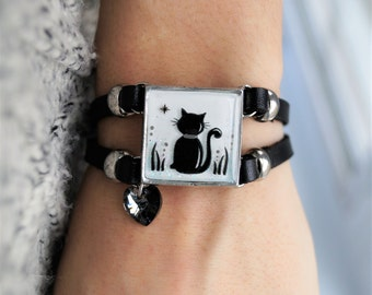 Bracelet of leather/drawing chat Josie D. artist