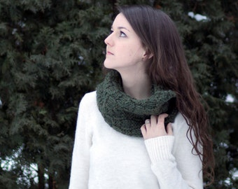 Olive Green Slouchy Knitted Cowl Scarf [ The Manitoba Cowl ] - Made in Canada by Wool and Warmth