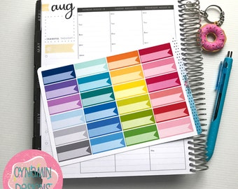 Flag Box Stickers - Colourful Brights | Sheet of 24 | Erin Condren Vertical Hourly Life Planner Stickers