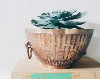 Brass vessel, home decor, for succulent or air plants