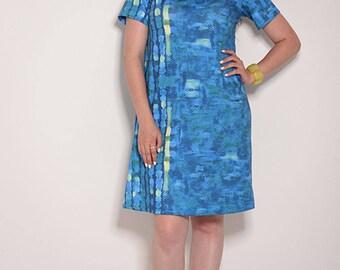 womens dresses, Turquoise dress, casual dresses, v neck dress, loose dresses, party dress, elegant dress, midi dress, knee length dress,