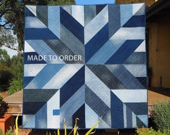 MADE TO ORDER Blue Giant quilt, recycled blue jeans, upcycled jeans quilt, denim quilt – environmentally conscious, sustainable textiles