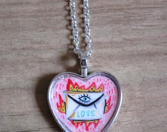 """Necklace heart """"Love letter"""" Shipping included-heart necklace """"love letter"""" shipping included"""