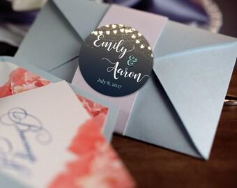 String Lights Stickers, Custom Labels - Wedding labels - Bridal Shower stickers - Wedding Decor - Thank you Stickers