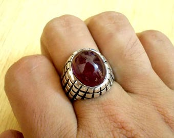 24 ct Natural Dark Blood Red Ruby Ring for Men in 925 Sterling Silver with new Elegant Design / Healing Ring