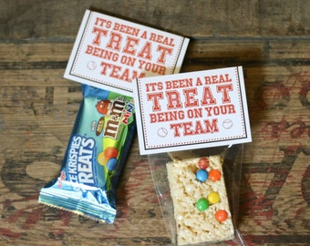 It's Been a Real Treat Being on your Team! Sport Team Rice Krispie Treat favors!