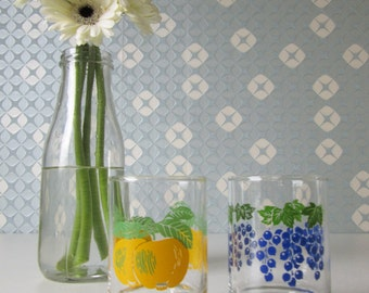 Two Vintage mid-century lemonade glasses with Fruit Design 16302