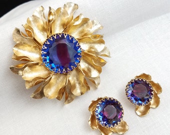 Rainbow Glass Large Gold Tone Flower Brooch and Clip Earrings Demi Parure