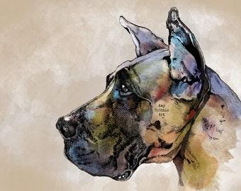 Great Dane Art Print - Great Dane Illustration - Great Dane Gift - Great Dane Decor - Great Dane Decor - Great Dane Lover- Dog Lover Gift