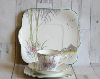 Vintage 1930s Heathcote Bone China Part Tea Set