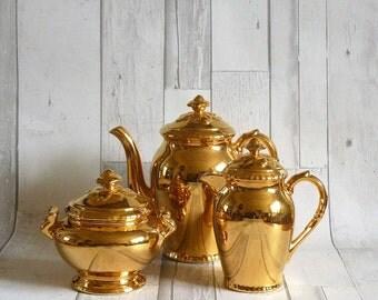Vintage Royal Worcester Gilt Gold Lustre Lustre Three Piece Tea Set - Teapot, Hot Water Jug and Sugar Bowl