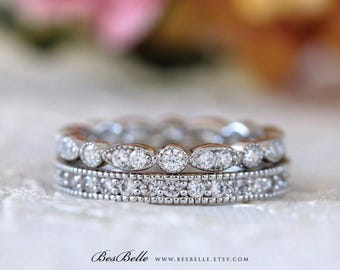 Milgrain Art Deco Eternity Set-Pave Set Diamond Simulants-All Around Stones Eternity Ring-Stackable Ring-Solid Sterling Silver [61652-2]