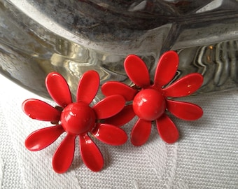 Vintage Enamel Earrings Red Vintage 60s Earrings Comforatble Clip On Earrings