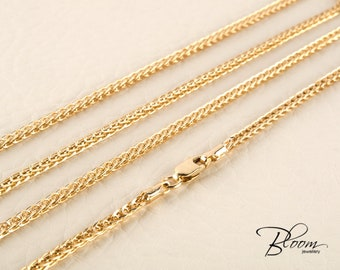 14K Wheat Chain Necklace Solid Gold Chain Necklace Wheat Gold Chain for Pendant Gold Chain Solid Gold Necklace 14K Gold Chain