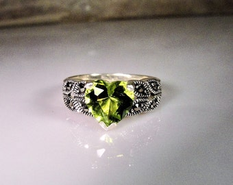 1980s, Peridot Heart Ring, Sterling Silver Ring, Green Peridot Ring, Marcasite Accented Ring, Heart Shaped Peridot, Vintage Ring – Size 7