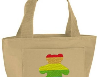 Embroidered Gay Teddy Bear Insulated Lunch Bag