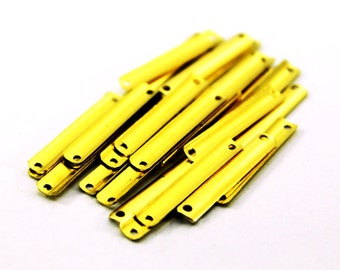 50 pcs 4x25 mm Raw Brass Rectangle Charms