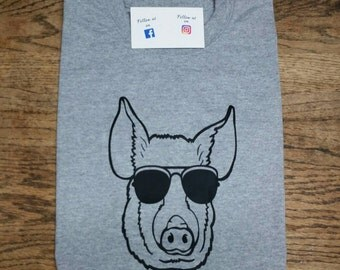 Adult Livestock Shirt. Show Pig Shirt. Pig Shirt. 4-H Shirt. Pig wearing sunglasses. Livestock show shirt.