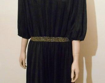 Vintage Dress, 1980s Black and Gold Dress, Glam Dress