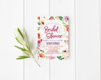 Floral Pink and Orange Bridal Shower Invitation- Bachelorette- Hens Party- Flowers- Watercolor- Modern- Purple- Digital File- Print Yourself