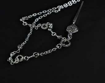 Long pendant necklace, chain necklace, statement necklace, metal neckalce, urban necklace, spike necklace, distinct necklace, bold necklace