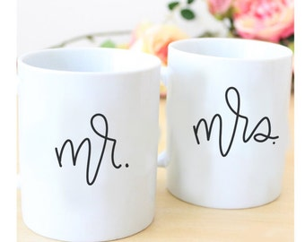Mr. & Mrs. 11 oz ceramic mug  // handlettered