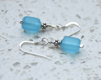 Turquoise Cultured Sea Glass and Sterling Silver Dangle Earrings.  Light Blue Glass and Sterling Silver Earrings.   925 Earrings.