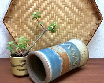 Zigzag pattern vintage studio pottery vase