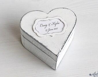 Wedding Box white and gray, Ring Box, Ring Bearer Wedding Box, Heart shaped Wedding Ring holder, Ring holder box, Heart ring box wedding box