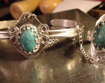 FREE SHIPPING!!! Sterling Silver Turquoise Dyed Howlit Slave Cuff Bracelet Hand Flower Retro Women's Jewelry By Nickole Schmidt For  Wimsica