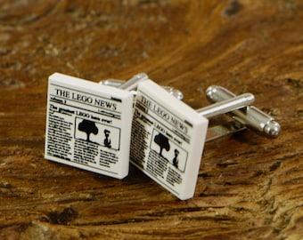 Gift Idea For Him - Unique White Cufflinks - Newspaper Cufflinks - Birthday Gift Idea - Present Idea - Fun Gift