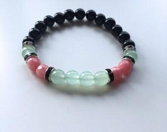 Natural pearls Bracelet: black Agate, Aventurine & Rhodonite