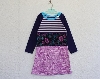 Girls Size 7 Recycled T Shirt Dress made from Floral and Striped Upcycled T Shirts with Long Purple Raglan Sleeves